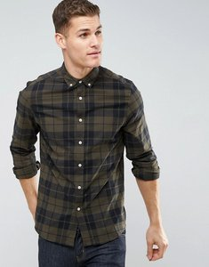 Read more about Asos design stretch slim poplin check shirt in khaki - green