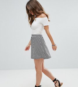 Read more about Asos petite stripe mini skater skirt - multi