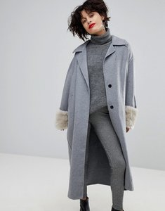 Read more about Mango midi coat with detachable faux fur cuff - grey