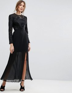 Read more about Miss selfridge premium embroidered pleated maxi dress - black