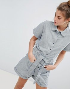 Read more about Pull bear pocket detail denim playsuit in grey - multi