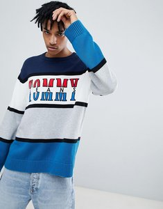 Read more about Tommy jeans capsule retro colorblock logo crewneck jumper relaxed oversized fit in multi - multi