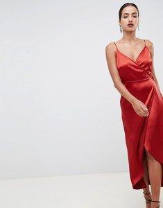Read more about Asos design satin wrap maxi dress - rust
