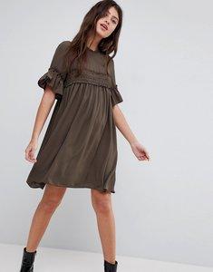 Read more about Asos shirred smock dress - khaki