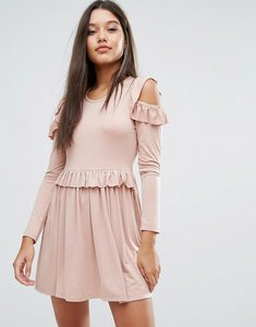 Read more about Missguided frill cold shoulder mini dress - pink