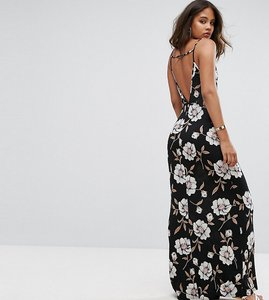Read more about Asos tall v back maxi dress in dark floral - floral