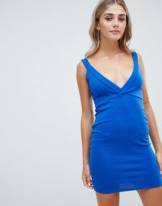 Read more about Missguided plunge front bodycon dress - blue