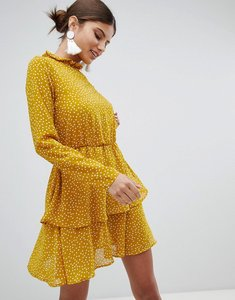 Read more about Missguided high neck polka dot dress - ochre