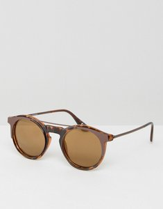 Read more about Asos 90s round sunglasses with flash lens - brown