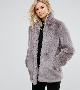 Read more about Asos tall coat in vintage faux fur - grey