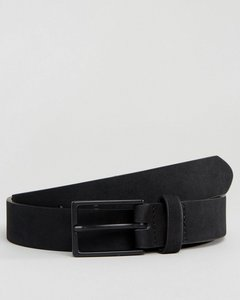 Read more about Asos smart faux suede slim belt in black - black