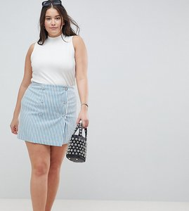 Read more about Asos design curve double breasted mini skirt in blue stripe - multi