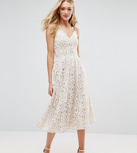 Read more about Little mistress tall allover premium lace full prom mini skater dress - white
