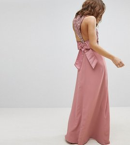 Read more about Maya sleeveless sequin bodice maxi dress with cutout and bow back detail - vintage rose