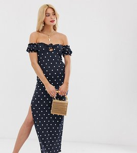 Read more about Asos design tall off shoulder crinkle maxi sundress with puff sleeve in spot print