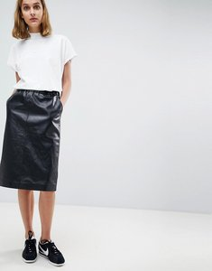 Read more about Moss copenhagen leather midi skirt - black
