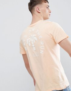 Read more about Stradivarius t-shirt in orange with palm tree back print - orange