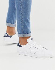 Read more about Adidas originals stan smith leather trainers in white and navy