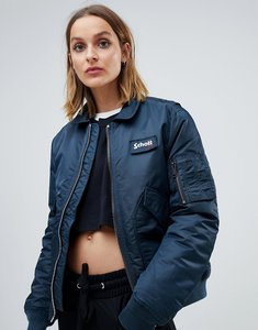 Read more about Schott relaxed bomber jacket with hood lining - navy