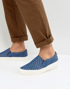 Read more about Asos slip on plimsolls in blue chambray with cross print - blue