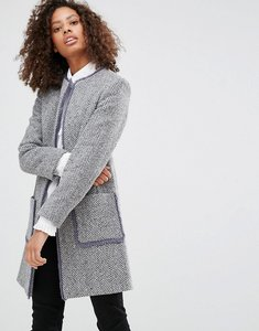 Read more about Helene berman wool blend edge to edge jacket with fringing - pale grey