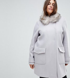 Read more about Asos curve slim coat with faux fur trim - grey