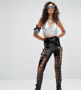 Read more about Sacred hawk high shine vinyl leggings with lace up details - black