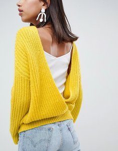 Read more about Asos design chunky jumper with v back - yellow
