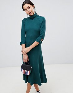 Read more about Traffic people high neck midi dress - dark green