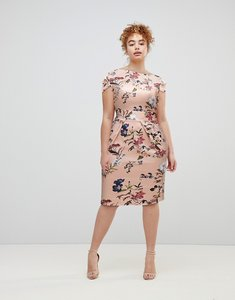 Read more about Closet london cap sleeve pencil dress in full bloom floral print - multi