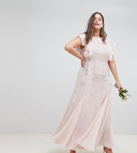 Read more about Asos design curve delicate embellished bridesmaids maxi dress with angel sleeve - blush