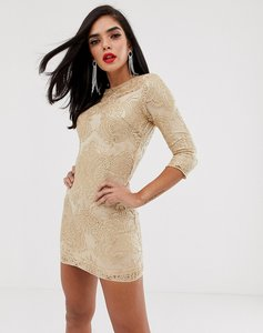 Read more about Tfnc baroque patterned sequin mini dress in gold