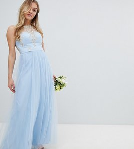 Read more about Chi chi london petite bardot neck sleeveless maxi dress with premium lace and tulle skirt - bluebell