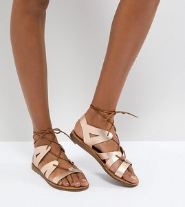 Read more about Office saffy rose gold leather gladiator lace up sandals - rose gold