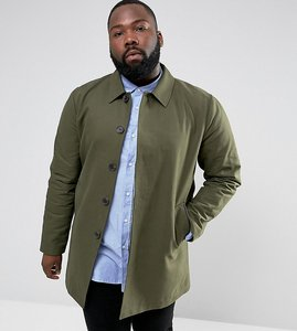 Read more about Asos plus shower resistant single breasted trench coat in khaki - khaki