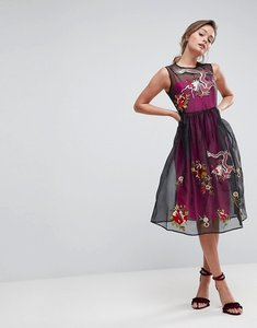 Read more about Asos premium embroidered mesh midi skater dress with contrast lining - multi