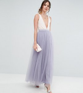 Read more about Little mistress tall maxi tulle prom skirt - dusky lilac