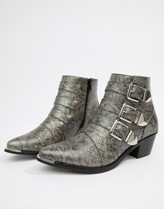 Read more about Pieces snake effect buckle ankle boot - natural snake