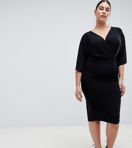 Read more about Outrageous fortune plus knot front jersey midi dress in black - black
