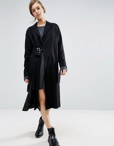 Read more about Asos duster coat with split and buckle detail - black