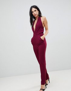 Read more about Ax paris plunge front jumpsuit - plum