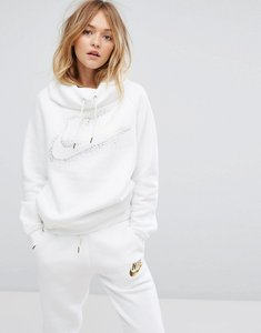 Read more about Nike funnel neck hoodie with metallic logo - white