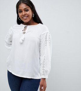 Read more about Glamorous curve broderie tunic top with tie detail - white