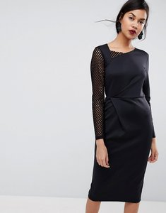 Read more about Asos midi pencil dress with mesh sleeve and tuck detail - black