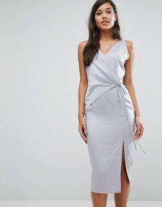 Read more about Lavish alice satin wrap tie midi dress - dusty blue