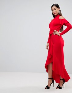 Read more about Asos extreme ruffle open back maxi dress - red