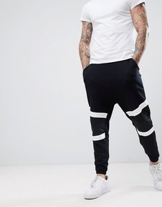 Read more about Asos drop crotch joggers with woven panels - black