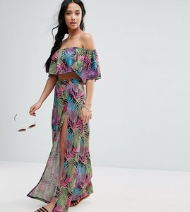 Read more about Asos petite tropical beach print split hem maxi skirt - multi