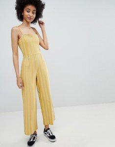 Read more about Bershka stripe wide leg jumpsuit in yellow - mustard