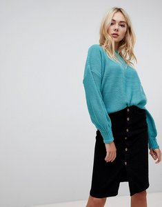 Read more about Qed london frilly trim textured high neck jumper - dusted jad